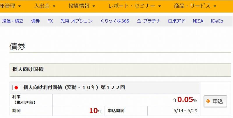 個人向け利付国債(変動・10年)